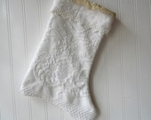 White Christmas Stocking upcycled vintage Matelasse eyelet crocheted lace cuff Shabby Romantic French Farmhouse N4