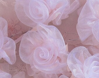36 pc POWDER PINK satin organza ribbon wired rose rosette flower for bridal hair bow accessory