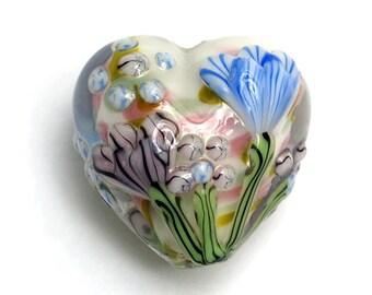 Light Pink w/Blue Floral Heart Focal Bead - Handmade Glass Lampwork Bead - 11805105