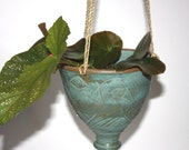 Turquoise Hanging Planter in Stoneware about  Six Inches Wide