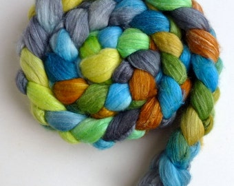Merino/ Superwash Merino/ Silk Roving (Top) - Handpainted Spinning or Felting Fiber, Arcadia