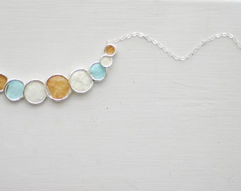 Ocean Bubble Necklace, 1st Anniversary Gift, Beach Wedding Jewelry, Paper Jewelry