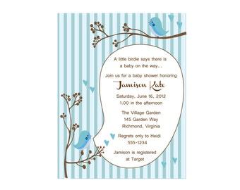 Bird Baby shower invitation, A little birdie told me blue (set of 10)
