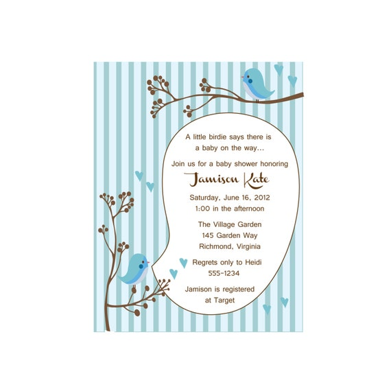 Bird Baby shower invitation, A little birdie told me blue (set of 10)