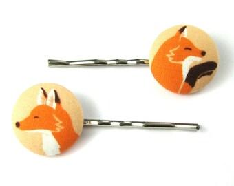 Fox - Fox Bobby Pins - Fox Fabric Covered Buttons - Fox Hair Accessories