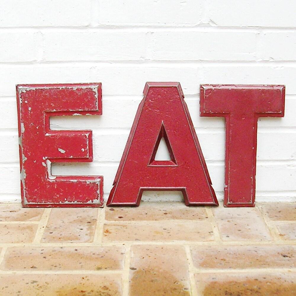vintage metal letters eat vintage marquee letter letters eat With vintage eat letters