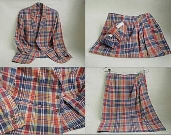 Vintage MADRAS Liz Claiborne 80s Retro 60s Linen/Cotton JACKET & SKIRT Suit or Separates