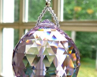 "Large 40mm Swarovski Crystal Ball Suncatcher, Beautiful Rainbow Maker, Window Prism, 8 Colors, Violet and Purple Shown -""SIMPLICITY GRANDE"""