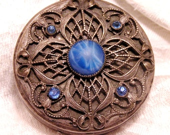 Antique Filigree Compact with Blue Cabochon and Rhinestones Beautiful Aged Patina (J45)