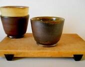 Small deep bowl, dark brown clay, moss green glaze, rustic/minimal