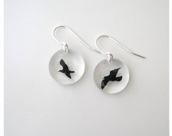 Acrylic Round Bird Earrings
