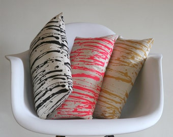 Modern Dripped Pattern PIllow, Screen printed in Neon PInk, Gold, or Black