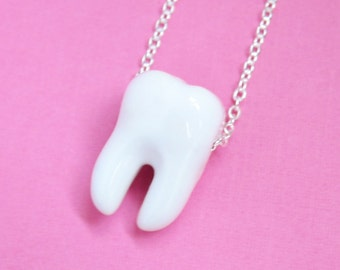 White Tooth Ceramic Necklace  (R3A)