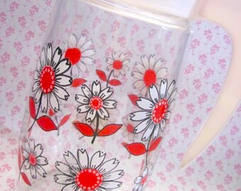 Vintage 1970s Large Daisyr Glass Pitcher