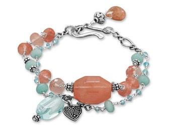 Gift Bracelet, Strawberry Quartz, Blue Jade, Designer Bracelet, Heart Charm, Gift for Her, Women, Double Strand, Strawberry Sherbet Bracelet