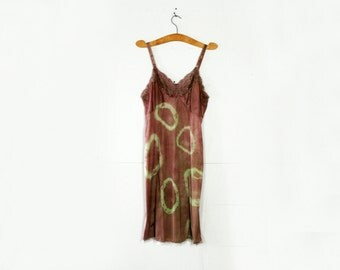 vintage 70s Festival Slip Dress Upcycled Hand Dyed Chocolate Mint Green Tie Dye