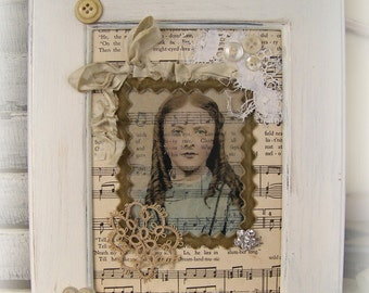 Handmade Altered Art Collage Vintage Collage Vintage Lace Button Collage Shabby White Cottage Style Sheet Music Original Framed Art