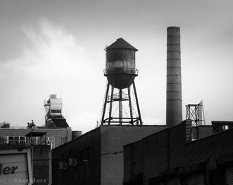 Brooklyn Water Tower and Smokestack Black and White Photography, Urban Chic, Industrial skyline, Signed Print