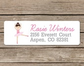 Dancer Return Address Labels - Self Adhesive Stickers - Pink Ballet Dancer