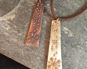 Unique Snowflake Pendant in Braille Jewelry in Braille