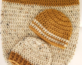 Newborn Cocoon Set... Newborn Boy... Cocoon and matching hats... Ready To Ship