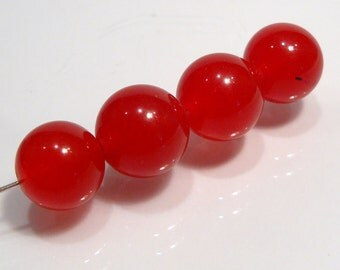 Bright Red Smooth Jade Smooth Round Gemstone Beads....4 Beads....12mm