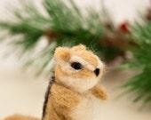 Needle felted chipmunk, Miniature chipmunk, Animal sculpture, Chipmunk ornament, Chipmunk figurine