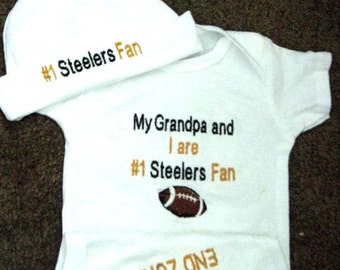 Personalized Embroidered Pittsburgh Steelers NFL Football Baby Infant Newborn Onesie Creeper and Hat set
