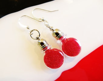 Microbead Miniature Glass Vial Red Earrings, Dangle Earrings, Bottle Earrings, Glass Earrings, Unique Earrings, Handmade Jewelry, Jewellery