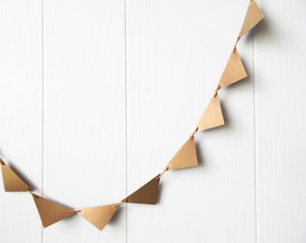 Mini Flag Garland Antique Gold Triangles Bunting / Photo Prop / Desk Bunting / Nursery Bunting