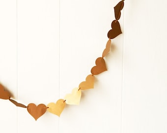 Gold Heart Garland Gold Anniversary Garland Valentine Garland Wedding Decoration Adjustable Hand Sewn