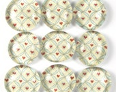 Glass Marble Magnets or Push Pins Set - Heart in Interlocking Circles