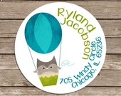 Owl in Hot Air Balloon - address or name or party stickers--choose pink or blue--choose size--choose glossy or matte