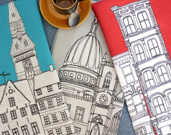 New York Tea Towel - New York Dish Cloth - New York Skyline - Screen Printed Kitchen Towel