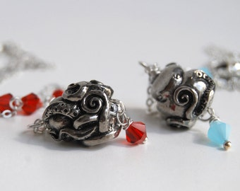 Coiled Octopus Necklace | Nautical Octopus Pendant | Pewter Octopus Charm