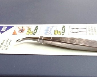 "sales - 15% off - Curved Tweezer - with ""Ball Shape Open Mouth Tip"" - Stainless Steel - 1pcs"