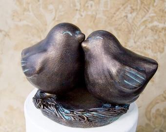 Antique Bronze Finish Love Bird Cake Topper