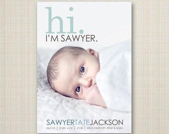 hi birth announcement, photo birth announcement, baby boy announcement, baby girl announcement, Double sided, printable, digital, modern