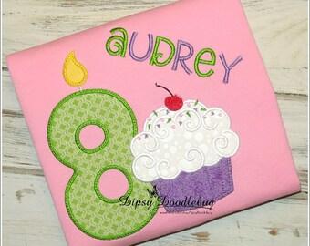 Birthday Cupcake  - Birthday Pajamas - Cupcake Birthday - Cupcake Pajamas - Girls Birthday Pajamas- Pajama Party