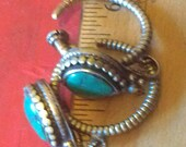 OLD Tibetan Silver and Turquoise Ebkor Tribal Earrings