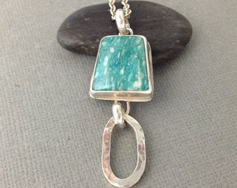 On Sale - Sterling Silver and Amazonite Handing Pendant, Artisan Pendant in Russian Amazonite and Sterling Silver