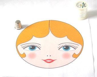 """Large Cloth Doll Face, Babushka Doll Face with Blonde Hair, SEW IN Anya doll face - 15cm (5 7/8"""") diameter"""