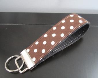 Sale - Keychain - Chocolate Dots Wristlet Key Chain - Stocking Stuffer