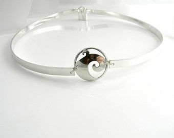 Discreet Slave Collar Tsunami 5mm Wide Sterling Silver Public Day Collar with Sterling Mock Padlock Clasp