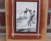 Original Collage Greeting Card Surfing Tandem