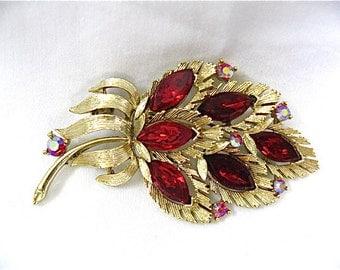ON SALE was 24.99 Vintage Red Crystal Lisner Brooch