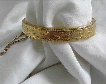 Vintage Etched Gold Tone Bangle Bracelet
