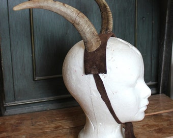 LABOR ONLY plus leather for custom domestic goat horn headband headdress crown totem antlers pagan - horns not included in this listing