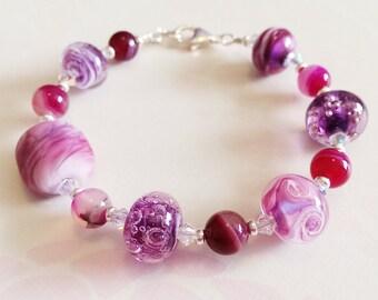 Summer Berries Bracelet Lampwork Sterling Silver Bracelet by keiara SRA