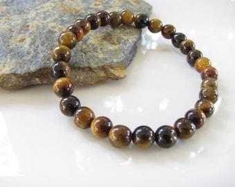 Stretch Gemstone Bracelet - Tigers Eye - Yoga Jewelry, Meditation, Healing